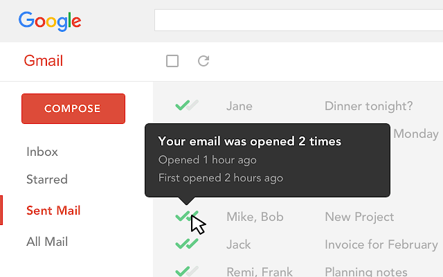 screenshot of mailtrack