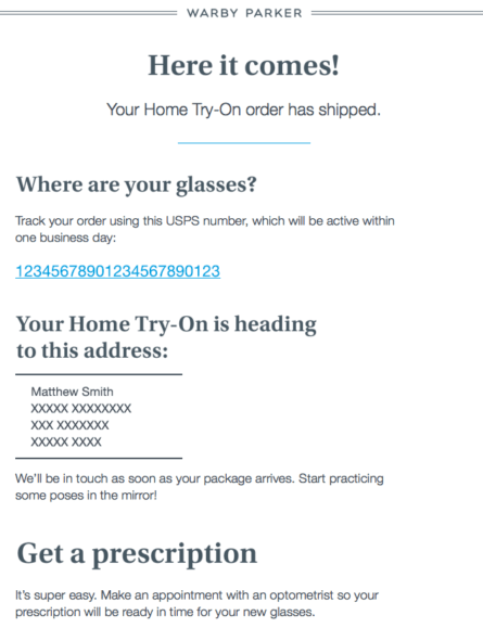 Warby Parker post-purchase email