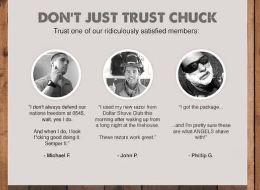 Chuck testimonials on email