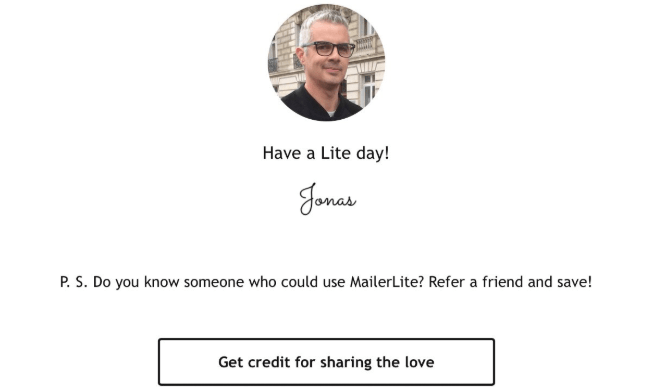 Mailer Lite referral email signature
