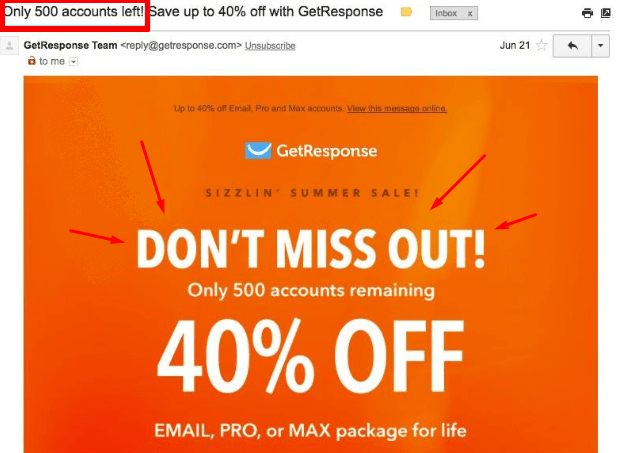 Emails that convert: GetResponse FOMO email