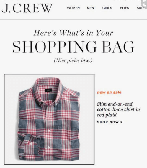 J Crew shopping bag email