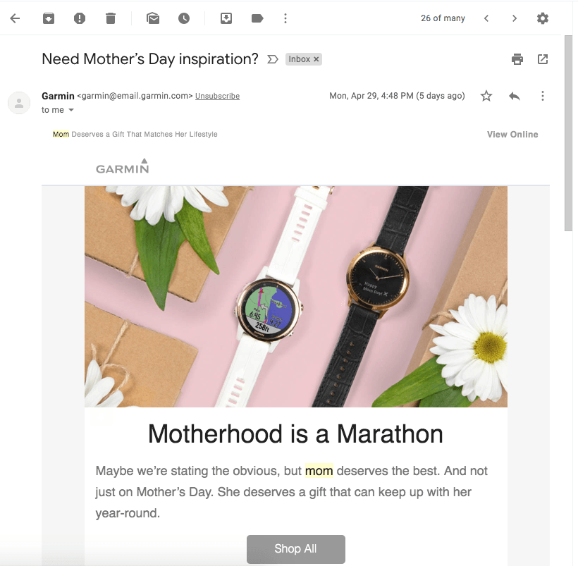 screenshot of garmin mothers day email