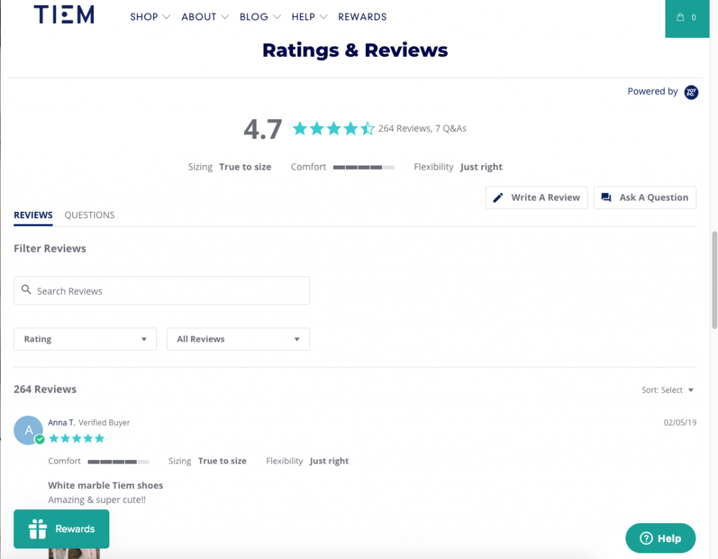 screenshot of tiem site showing customer reviews
