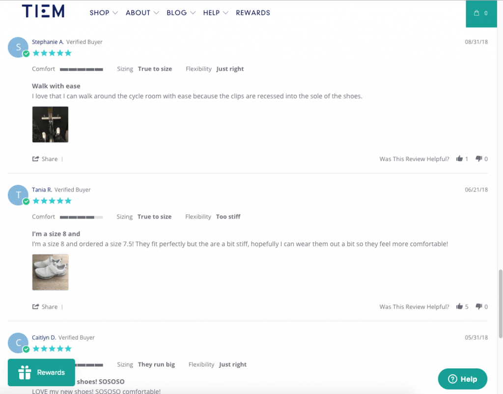 screenshot of customer reviews on the tiem website