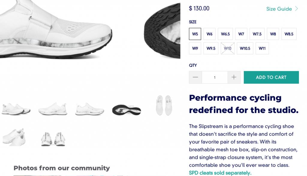 screenshot of tiem product description on website