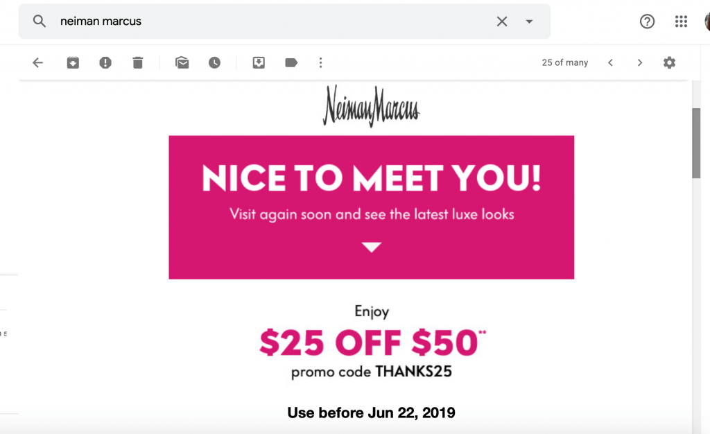 screemshot of email from neiman marcus