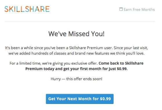 Skillshare engagement email