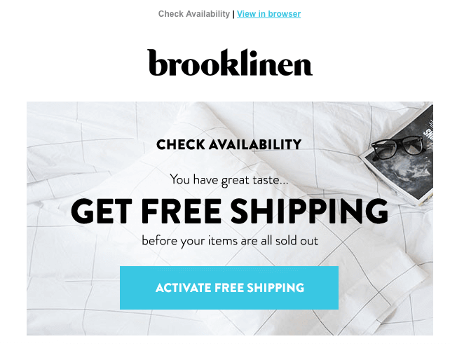 Brooklinen re-engagement email