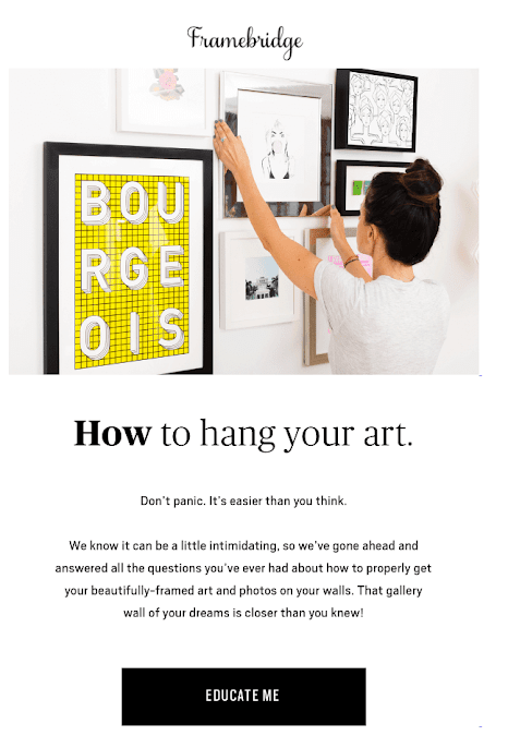 Lead nurturing example: Framebridge how to hang a picture email