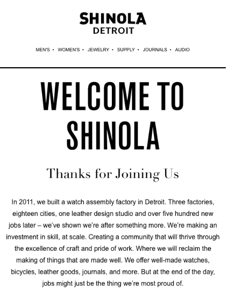 Shinola welcome email