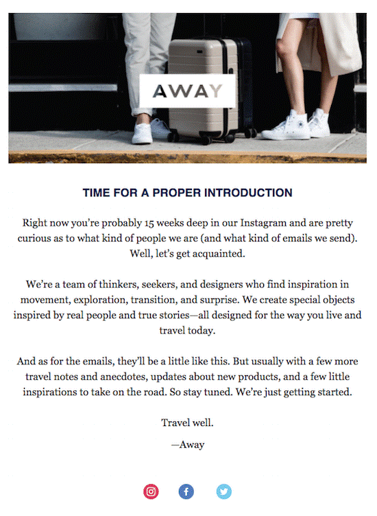 Away introduction email