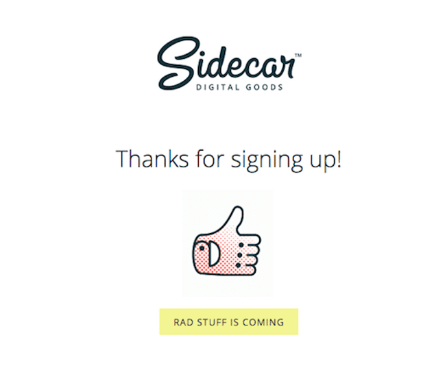 Sidecar thank you email