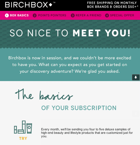 "Birchbox ""Nice to meet you"" email"