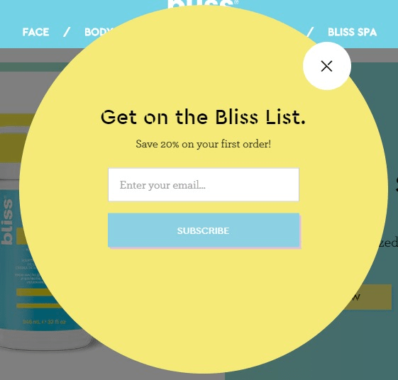 Bliss sign-up example