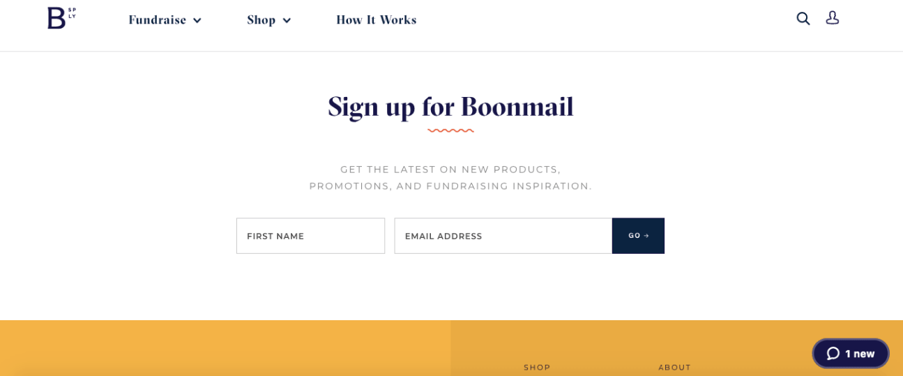 Get more email subscribers example: Boonmail basic signup form