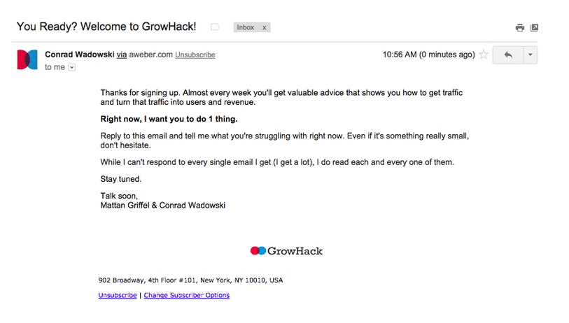 Product launch emails: growhack