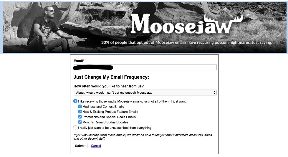 Moosejaw unsubscribe