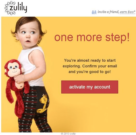 Zulily double opt-in example