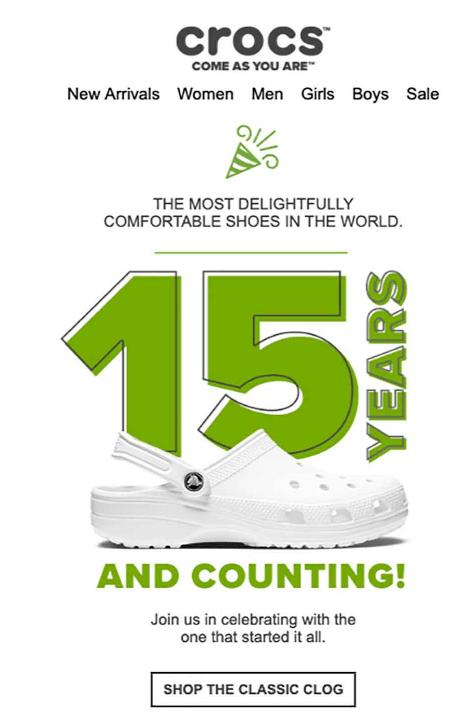 Crocs anniversary email