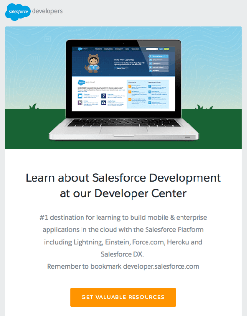 Salesforce developer educational email