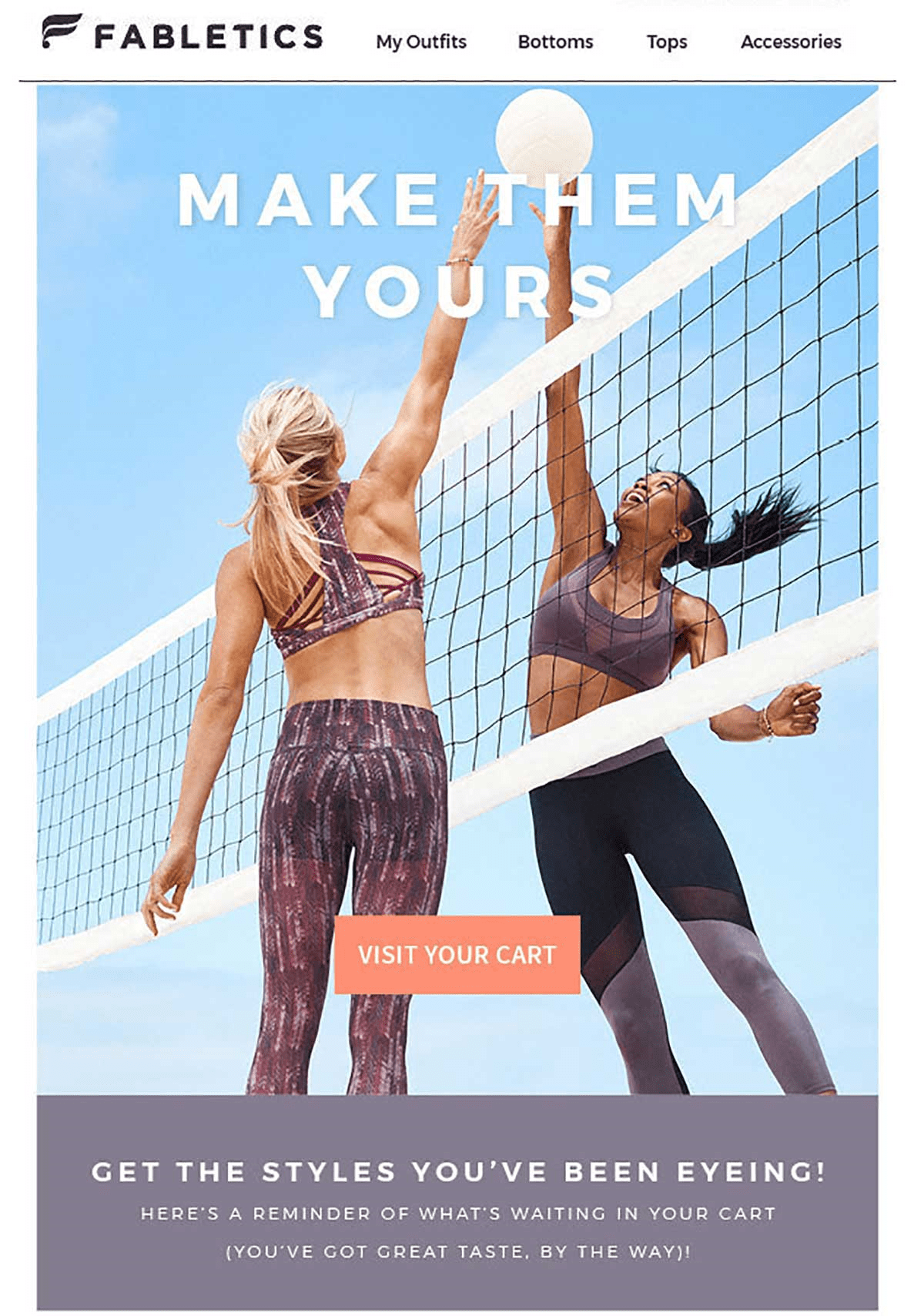 Fabletics simple CTA