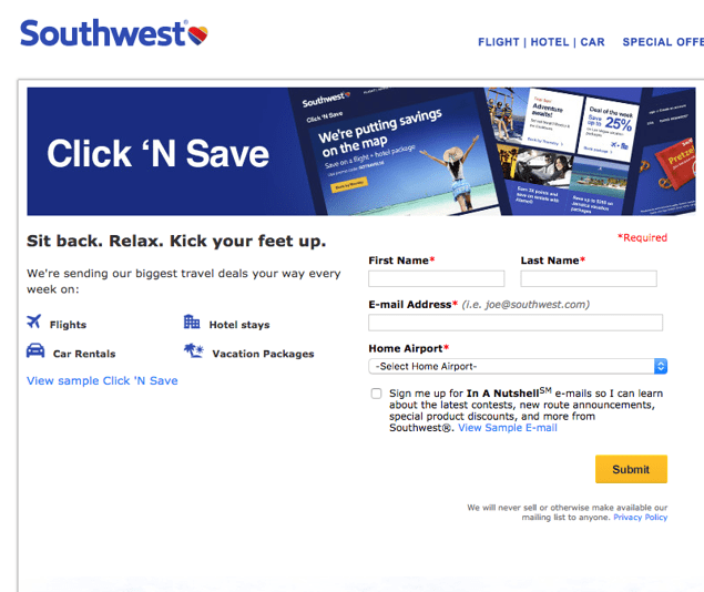 Southwest email lead magnet