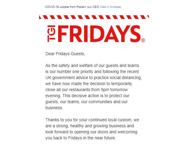 TGI fridays crisis email