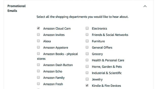 Amazon email options