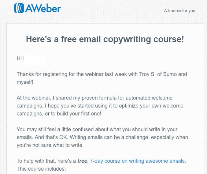 Aweber webinar email