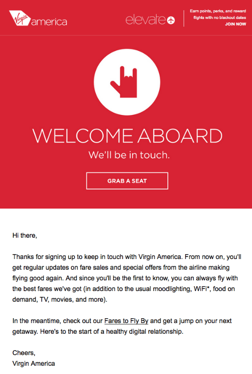 Virgin atlantic welcome aboard