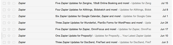 Zapier email updates