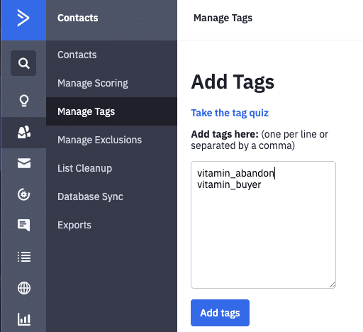 Add Tags In ActiveCampaign